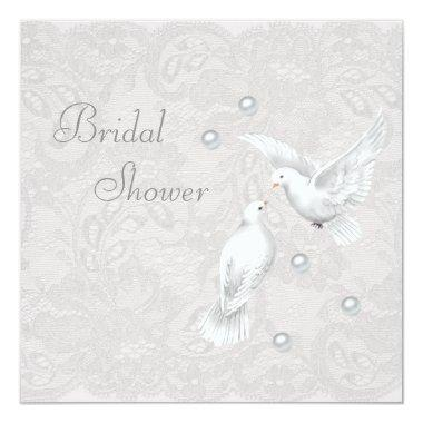 White Doves & Pearls Paisley Lace Bridal Shower Invitations
