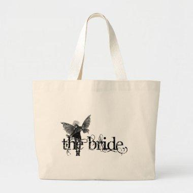 White Dress Fairy B&W Negative - The Bride Large Tote Bag
