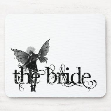 White Dress Fairy B&W Negative - The Bride Mouse Pad
