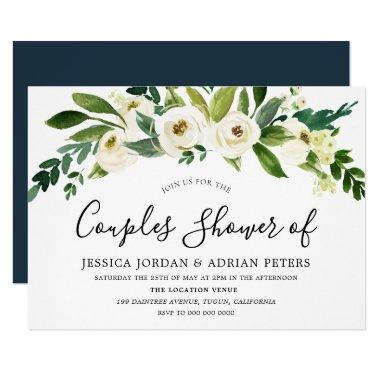 White Floral All Seasons Couples Shower Invitations