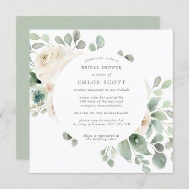White Floral Botanical Square Bridal Shower Invitations