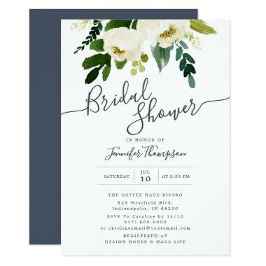 White Floral & Greenery Watercolor Bridal Shower Invitations