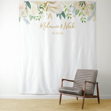 White Floral Greenery wedding photo backdrop