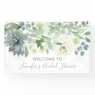 White Floral Succulent Bridal Shower Banner