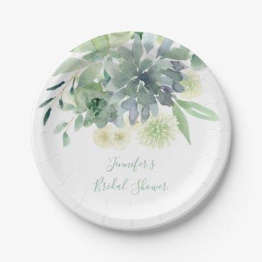 White Floral Succulent Bridal Shower Paper Plate