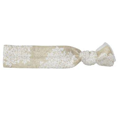 White Floral Vintage Wedding Elastic Hair Tie