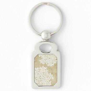White Floral Vintage Wedding Keychain