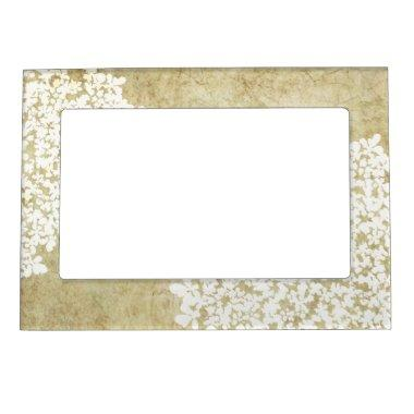 White Floral Vintage Wedding Magnetic Picture Frame