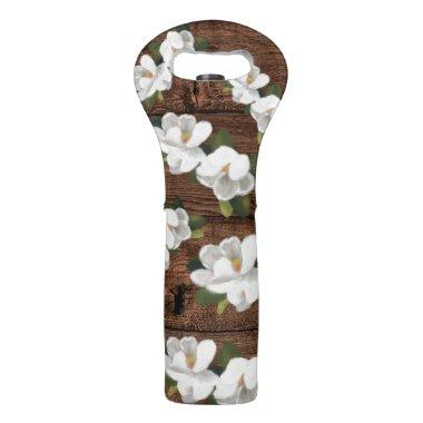 White Florals & Woodgrain Rustic Dinner Party Tote Wine Bag