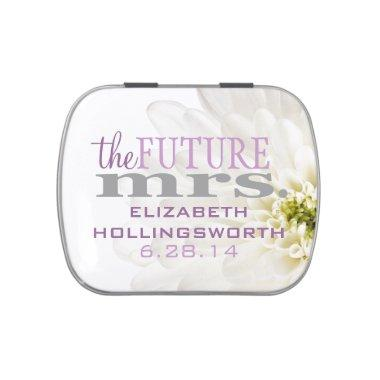 White Flower The Future Mrs. Shower Guest Favor Jelly Belly Tin