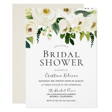 White Flowers & Cream Elegant Bridal Shower Invitations