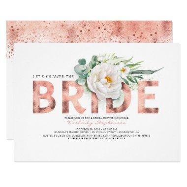 White Flowers Rose Gold and Greenery Bridal Shower Invitations