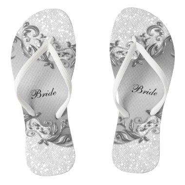 White Glitter and Gray | Wedding Flip Flops