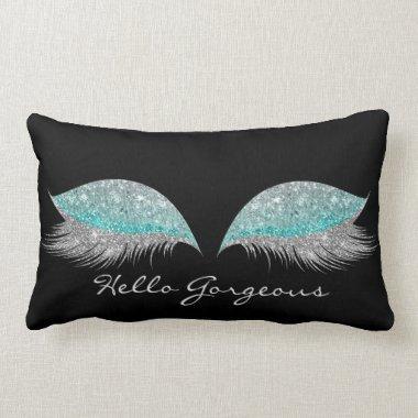 White Gray Tiffany Makeup Lashes Gorgeous Black Lumbar Pillow