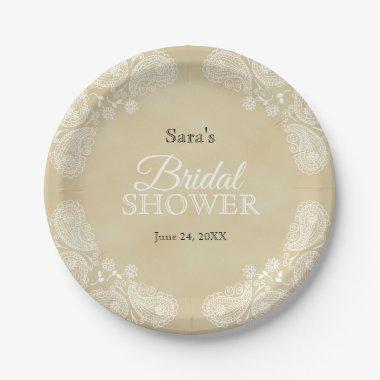 White Hand Drawn Paisley, Rustic Bridal Shower Paper Plate