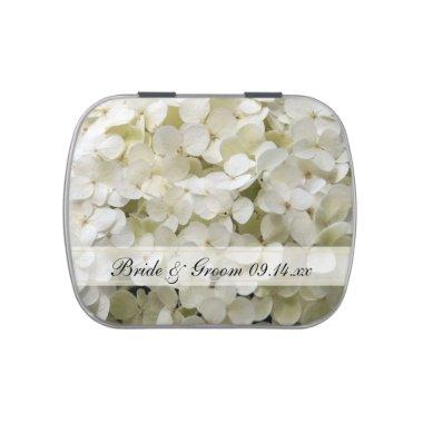 White Hydrangea Flower Wedding Favor Jelly Belly Candy Tin