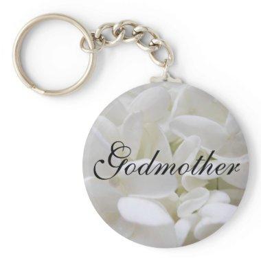 """White Hydrangea """"Godmother"""" keyring Keychain"""