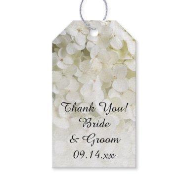 White Hydrangea Wedding Favor Tags