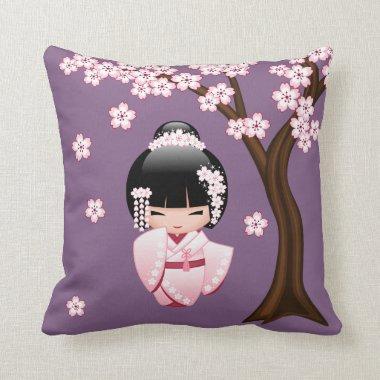 White Kimono Kokeshi Doll - Cute Geisha Girl Throw Pillow