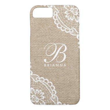 White Lace Monogram Burlap iPhone 8/7 Case
