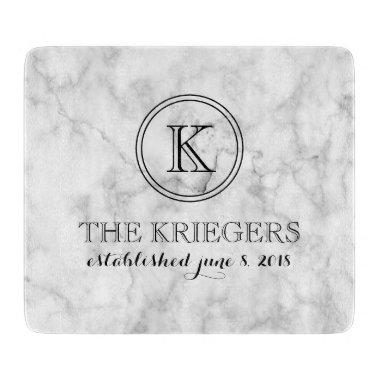 White Marble Monogram Heart Wedding Cutting Board
