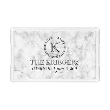 White Marble Monogram Wedding Cutting Board Acrylic Tray