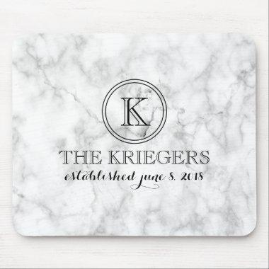 White Marble Monogram Wedding Mouse Pad