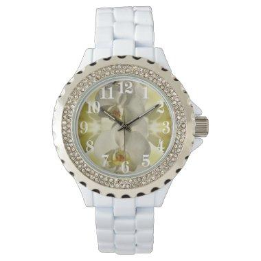 White orchid wedding wristwatch