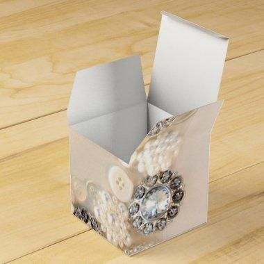 White Pearls and Diamond Buttons Wedding Favor Box