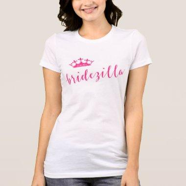 White Personalized Bridezilla Shirts With Crown
