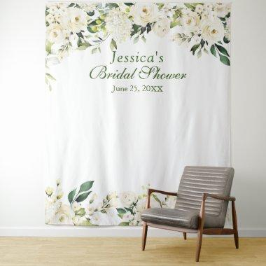 White Rose Bridal Shower Chic Photo Booth Backdrop