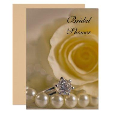 White Rose, Pearls and Ring Bridal Shower Invite
