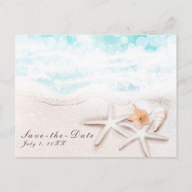 White Sand Beach Starfish Blue Ocean Save the Date Announcement Post