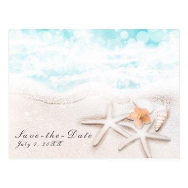 White Sand Beach Starfish Blue Ocean Save the Date Post