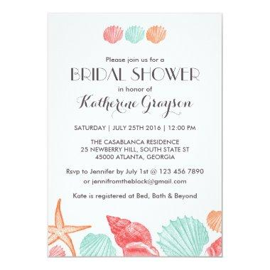 White Seashells Invitations for Beach Wedding