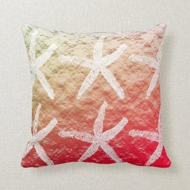 White Starfish Patterns Golden Foil Pink Ombre Throw Pillow