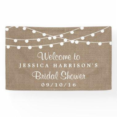 White String Lights On Rustic Burlap Bridal Shower Banner