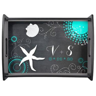 White Teal Chalkboard Beach Wedding Monograms Serving Tray