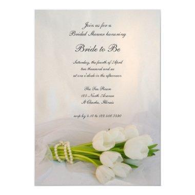 White Tulip Bouquet Spring  Invite