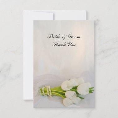 White Tulip Bouquet Wedding Flat Thank You Notes