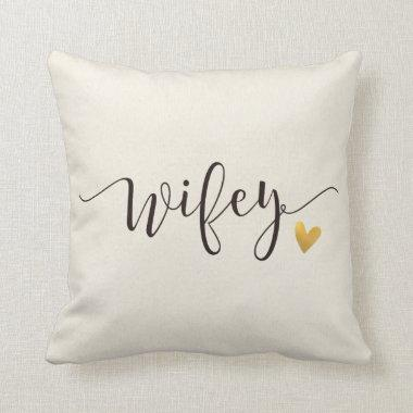 Wifey,Hubby and Wifey Wedding Gift Throw Pillow