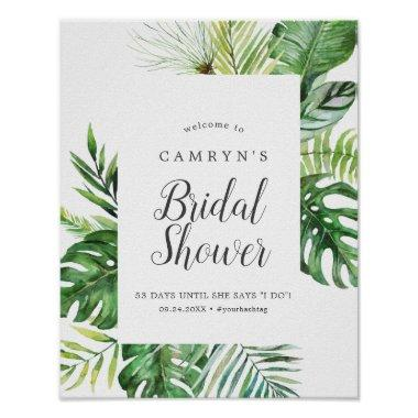 Wild Tropical Palm Bridal Shower Welcome Poster