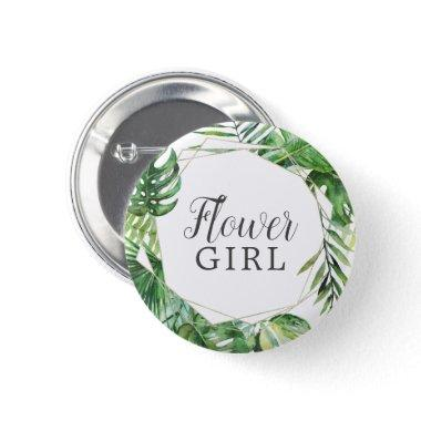 Wild Tropical Palm Flower Girl Bridal Shower Button