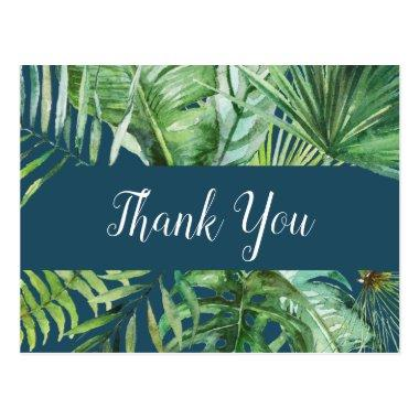 Wild Tropical Palm | Navy Blue Thank You PostInvitations