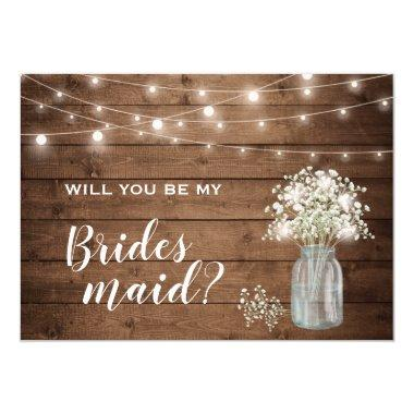 Will You Be My Bridesmaid Baby's Breath Mason Jar