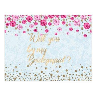 Will You Be My Bridesmaid Blue Pink Roses Confetti Post