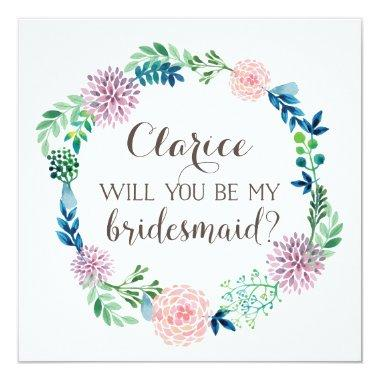 Will you be my bridesmaid, flowers, watercolor