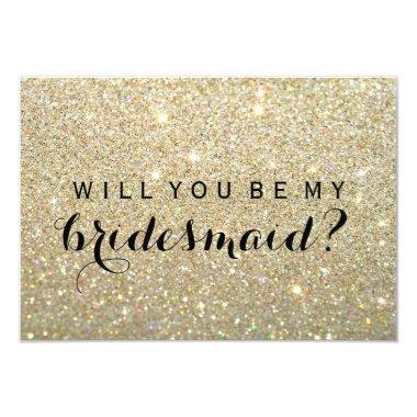WIll You Be My Bridesmaid - Gold Glitter Fab Invitations