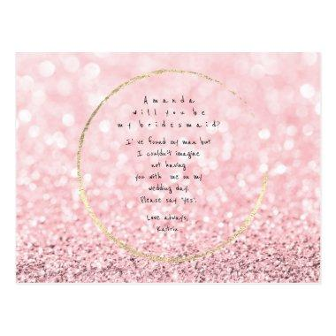 Will You Be My Bridesmaid Pink Rose Gold Glitter Post