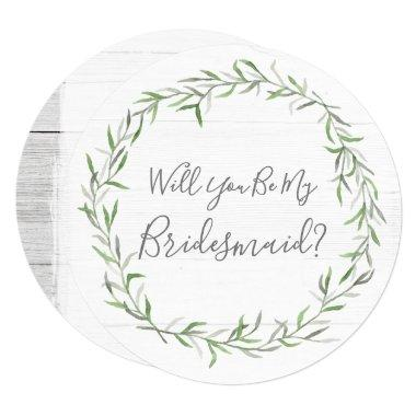 Will You Be My Bridesmaid Rustic Wood & Wreath Invitations